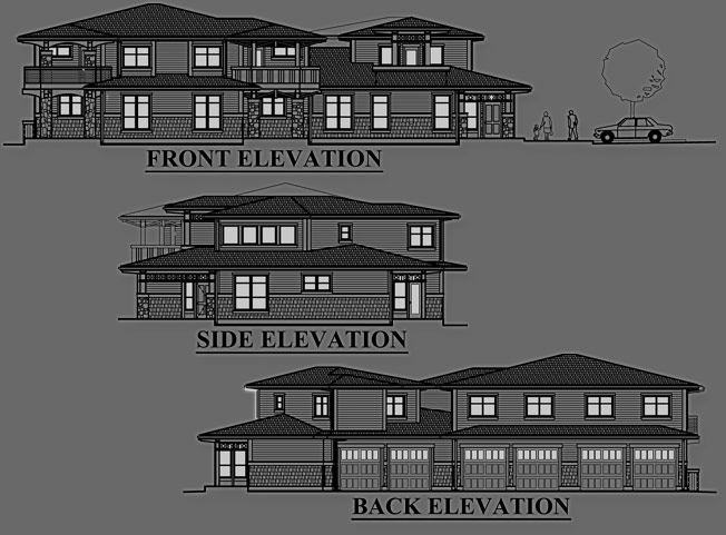 Duck Creek Condominiums - Front & Rear Elevations Designs / Building Plan