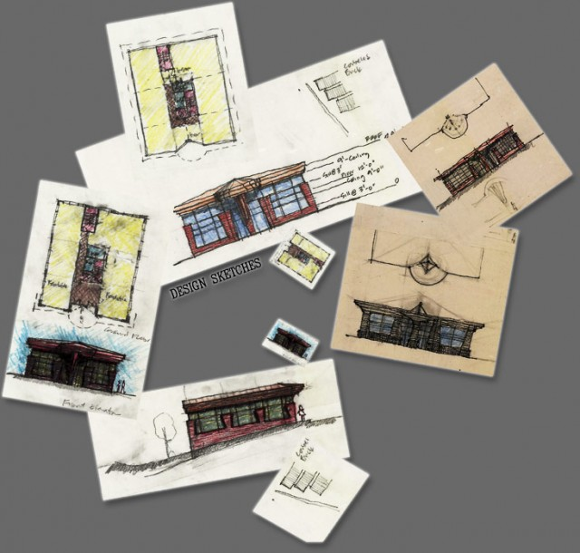 Fonk Office Building Design Sketches by Darrell Swanson